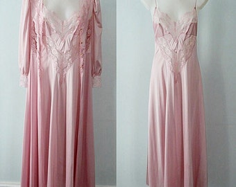 Vintage Pink Peignoir Set, Vintage Peignoir, Kayser, 1970s Peignoir Set, Vintage Nightgown, Vintage Lingerie, Peignoir