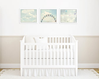 nursery wall art set, toddler room decor, set of 3 prints, ferri wheel print, nursery photography, carnival nursery art, nursery pictures
