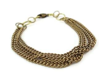 Multi Chain Bracelet Brass Tone, Multistrand Bracelet Chain Golden, Simple Chain Jewelry Gold Tone Gift For Her