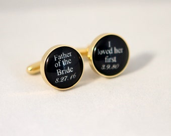 Gold Cuff links father of the bride cuff links Wedding gift for father of the bride