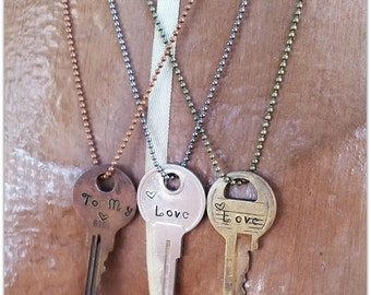 Old Key Necklace, Love, Hearts, Key to my Heart, Hand Stamped, Vintage Key, Ball Chain, Romantic, Personalized Necklace,  Word Necklace Gift