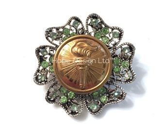 Vintage WWII US Army JROTC Torch Insignia on Silver and Green Rhinestone Brooch Pin