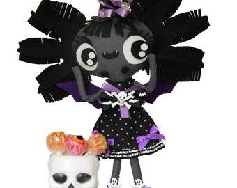 Axolotl vampire bat felt ooak doll handmade BATXOLOTA