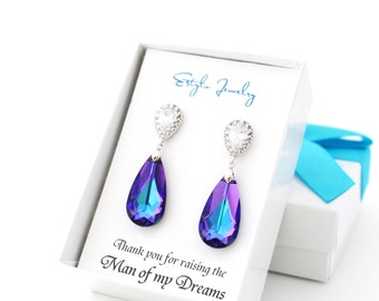 Thank You For Raising The Man of my Dreams, Mother of the Groom Gift from Bride, Peacock Wedding Earring, Mother in Law Wedding Gift Purple