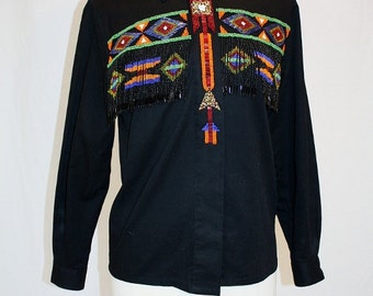 1990's Black Southwestern Blouse Shirt Beaded Size 6 Vintage REtro 90's Native American Multicolored Fringe Beads Country Western