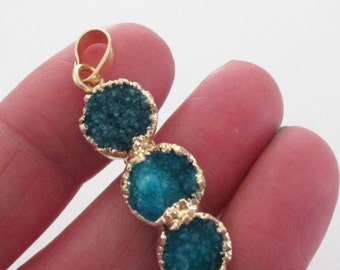 3 Tier Layering Round Druzy - Teal Green Triple Stack Druzy Pendant - Long Geode Pendant - Gold Dipped - Natural Rough Stone - DIY Jewelry