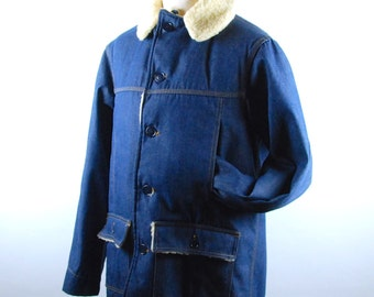 1970's Denim Sherpa Coat by Montgomery Ward, Made in the USA, Trucker Jacket