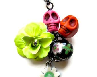 Dia de los Muertos, Sugar Skull Necklace Pendant, Day of the Dead Jewelry