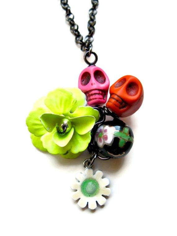 dia de los muertos sugar skull necklace pendant day of the