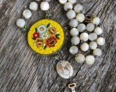RESERVED/SOLD LISTING...Secret Garden        Antique MicroMosaic Mother of Pearl Assemblage Necklace