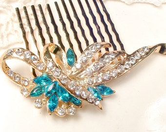 Aqua Blue Gold Bridal Hair Comb, Turquoise & Clear Rhinestone Vintage Wedding Art Deco Brooch to Aquamarine Hairpiece, Rustic Chic Country