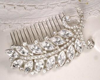 Rhinestone Leaf Wedding HAIR COMB or Sash Brooch, 1940s Art Deco Bridal Jewelry, Large Vintage Silver Crystal Downton Abbey Head Piece Clip