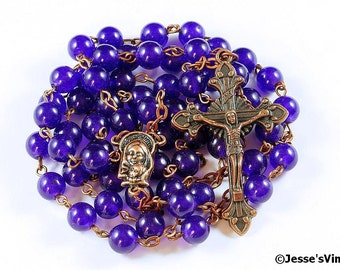 Catholic Rosary Beads Purple Amethyst Copper Traditional Rustic Natural Stone Five Decade Catholic Gift