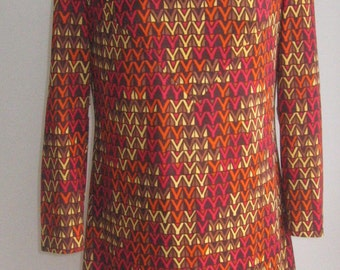 60s 70s  vtg abstract op art dress, made in mexico