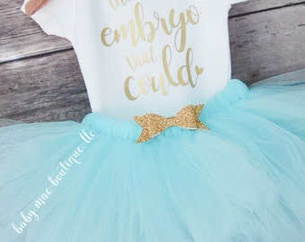 The Little Embryo That Could Outfit; IVF Baby; Infertility Struggle bodysuit; Baby girl bodysuit with tutu