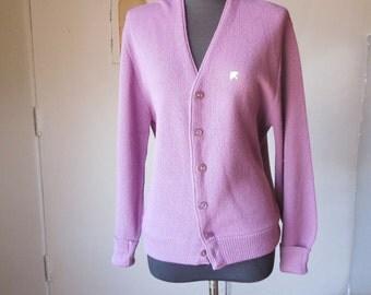 Vintage Cardigan Sweater, Lavender Purple Golf Sweater, Vegan Friendly Acrylic Knit, Women's Small to Medium