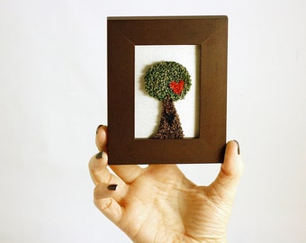 Tree of Love in a Mini Frame. Punchneedle Embroidery Fiber Art. Home Decor. Green, Brown, Red. Hearts, Love. Woodland. Ready to ship!