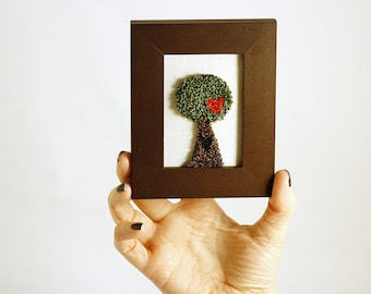Tree of Love in a Mini Frame. Punchneedle Embroidery Fiber Art. Home Decor. Green, Brown, Red. Hearts, Love. Woodland.