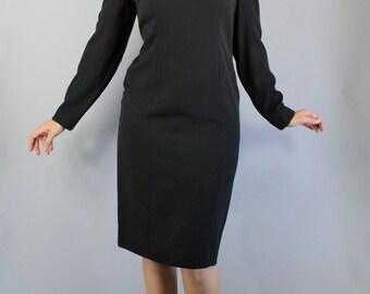 Little Black Dress, Vintage 80s does 40s, Long Sleeve, Gothic Dress, Office, Audrey Hepburn, Retro, Basic, Minimal, Size Medium