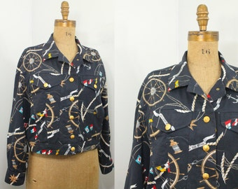 90s jacket - vintage Mondi jacket - nautical sailing print jacket - 90s clothing - 90s jean jacket