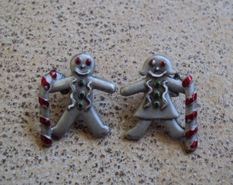 Gingerbread Boy and Girl Christmas Silvertone Pewter Pierced Post Vintage Earrings Signed JJ