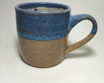 Handmade Stoneware Mug - Rustic Ceramic  Mug - White and Blue Mug - Coffee Mug - Beer Mug - Coffee Mug - Tea Mug - Snowflake Mug