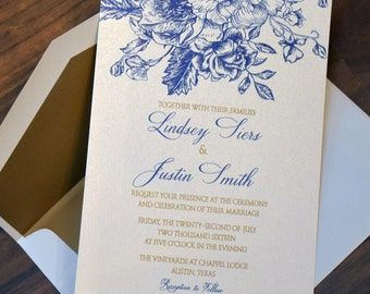 Sample - Southern Romantic Blue and Gold Rose Spray Thermography or Flat Wedding Invitation in Blue and Gold or your Custom Colors