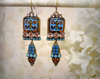 Electric Blue and Amber Micro Mosaic Earrings Champagne Rhinestone Earrings Opal Blue Rhinestone Earrings Blue Gold Drop Earrings Scroll