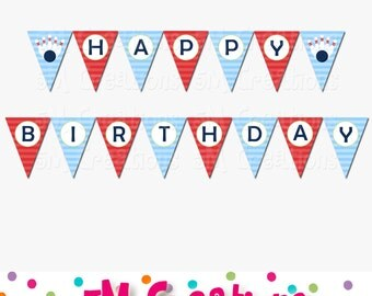 Bowling Happy Birthday Party Banner - Bowling Printable Banner Red Blue Navy Green- Bowling Pin Digital File - INSTANT DOWNLOAD PDF