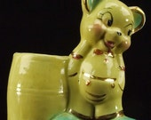 Vintage Hall Pottery Yellow Little Teddy Bear Planter Gold Paint Details Baby Shower Gift ATCTTEAM TNTEAM