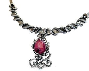 Ruby Necklace, Choker Necklace, Victorian Choker, Silver Choker, Pendant Choker, Statement Necklace, Silver Choker, Victorian Jewelry