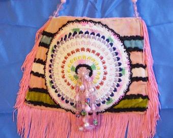 Vintage Pink Boho Purse, Vintage Bohemian Purse, Vintage Hippie Purse, Pink Boho Bag, OOAK Boho Handbag