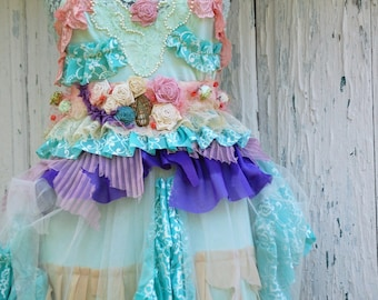 Dress, Marie Antoinette, let them eat cake,slip, upcycled dress, layers and frills, mint, lace, roses,raspberry pink, balerina, wedding,lace
