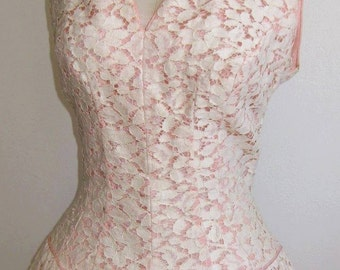 Vintage 50s Formal Pink & White Lace Full Skirt Rockabilly Party Dance Dress