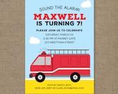 Fire Truck Invitation Birthday, Red Fire Engine Digital Invitation, Kelly Medina Studios, Boy Invites