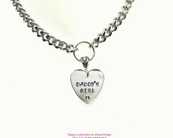 BDSM Day Collar DADDYS GIRL Engraved Necklace 316L Stainless Steel Chain Swarovski Rhinestone with Heart Padlock Closure or Lobster Clasp
