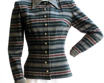 1940s Ellen Kaye Gray, Red, Green and Blue Striped Jacket Size Small