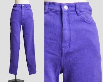 Vintage 90s Purple Jeans Skinny Grunge High Waist / 1990s Purple Denim Pants Mom Medium Blue Tapered 25 s