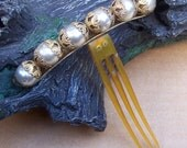 Victorian hinged faux pearl hair comb tiara comb hair accessory hair jewelry decorative comb hair ornament