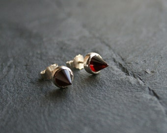 sterling silver and dark red garnet spike earrings - spiky post earrings, geometric earrings