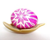Pink Pysanka batik chicken egg shell Ukrainian Easter pisanki, popular wedding shower gifts available in large quantities made to order eggs