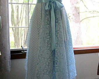 Floor length light blue robin egg blue romantic lace tattered bohemian faerie wedding dress formal dress, lace, US size 10-12