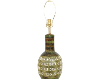 Bitossi for Raymor Pottery Lamp Mid-Century Modern Green and White