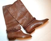 80s Tall Brown Leather Boots, Braided Ankle Rope, UNWORN size 6.5 Womens, Apostrophe, Knee High Boot, Super Soft Rocker Boot