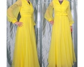 1970s Yellow Chiffon Maxi Dress Evening Gown, Miss Elliette, Small, Cocktail Party, Long Sleeved, Belted, Sheer Floor Length Dress, Collar
