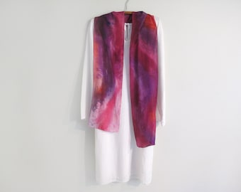 Hand-Painted 100% Silk Scarf, Red-Purple, Abstract, Long and Narrow