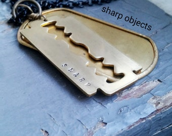 Sharp Objects - stamped razor blade charm, metalwork dog tag, sealed link black chain necklace