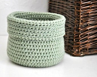 Sage Green Basket Catchall Storage Bin Modern Decor Contemporary Design