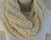 Chunky Spiral Rib Cowl in Fisherman (Cream), Wheat (Cream), Oatmeal (Beige) or Barley (Brown) READY TO SHIP