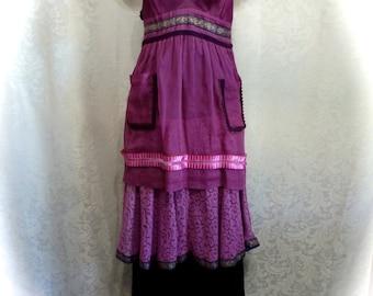 Slip Dress Victorian Style Using Vintage Fabrics Luscious Raspberry OOAK